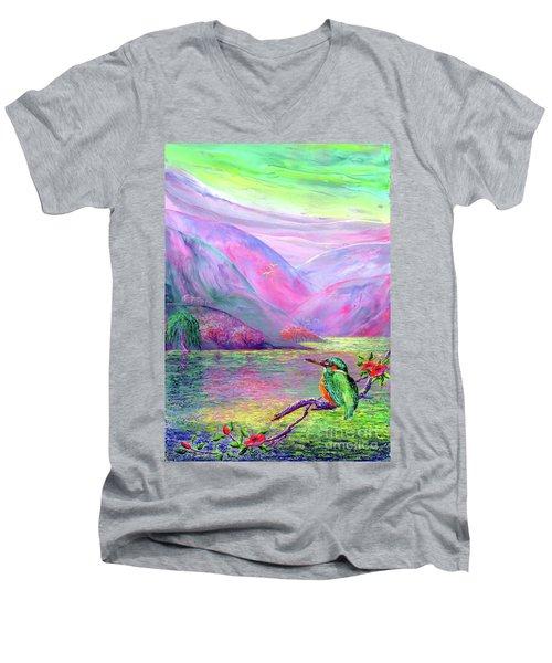 Kingfisher, Shimmering Streams Men's V-Neck T-Shirt