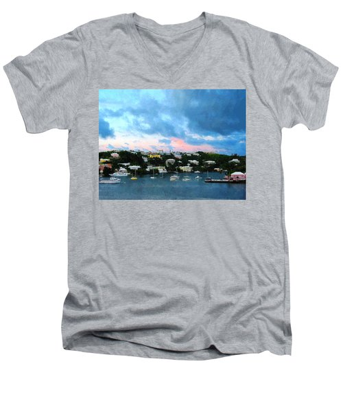 Men's V-Neck T-Shirt featuring the photograph King's Wharf Bermuda Harbor Sunrise by Susan Savad