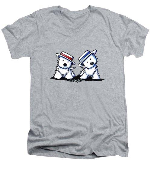Kiniart Westie Dancing Duo Men's V-Neck T-Shirt