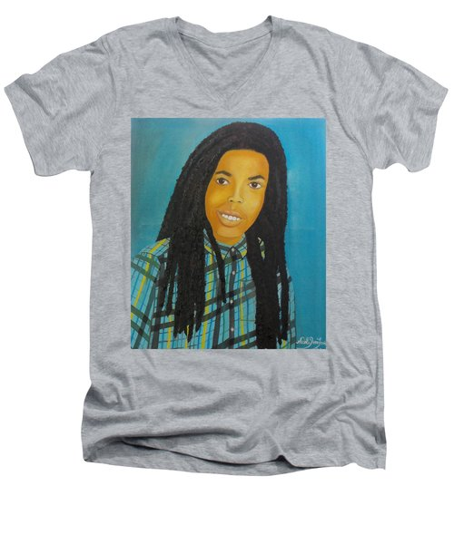 Men's V-Neck T-Shirt featuring the painting Kinshasa My First Grandchild by Nicole Jean-Louis