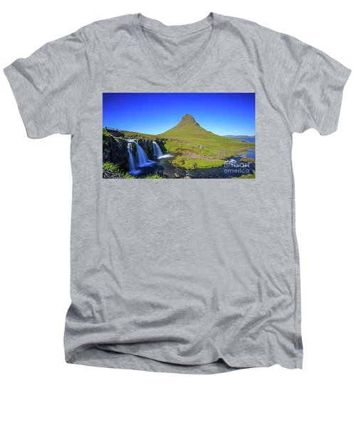 Men's V-Neck T-Shirt featuring the photograph Kirkjufell Iceland by Edward Fielding