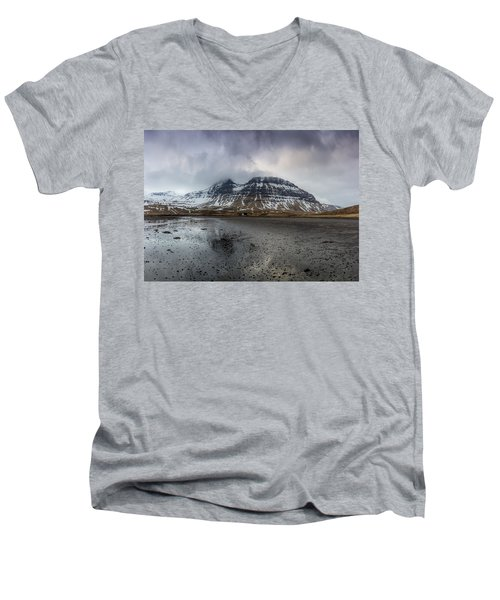 kirkjufellsfoss From Black Beach Men's V-Neck T-Shirt