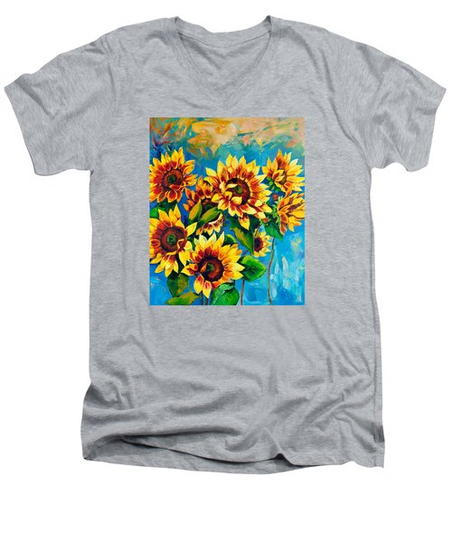 Men's V-Neck T-Shirt featuring the painting Kissed By God by Karen Showell