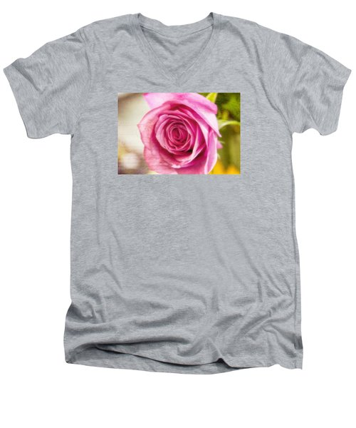 Men's V-Neck T-Shirt featuring the photograph Kissed With Pink by Joan Bertucci