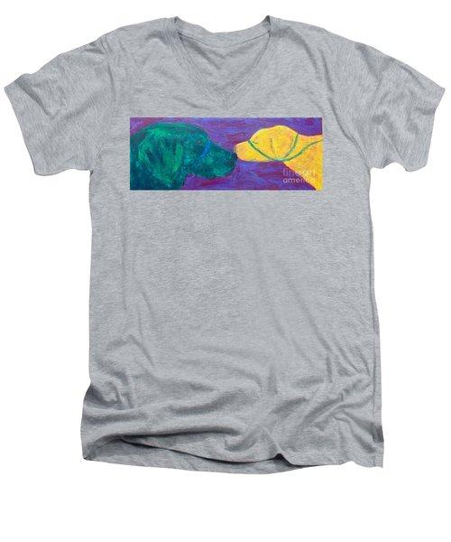 Kissing Dog Men's V-Neck T-Shirt by Donald J Ryker III