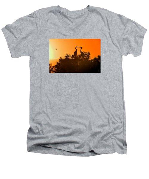 Kissing Herons  Men's V-Neck T-Shirt