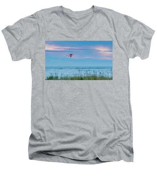 Kite In The Air At Sunset Men's V-Neck T-Shirt
