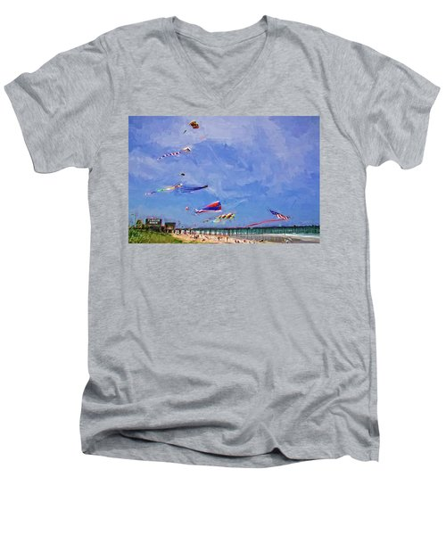 Men's V-Neck T-Shirt featuring the photograph Kites At The Flagler Beach Pier by Alice Gipson