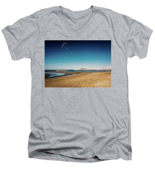 Kitesurf On The Beach Men's V-Neck T-Shirt