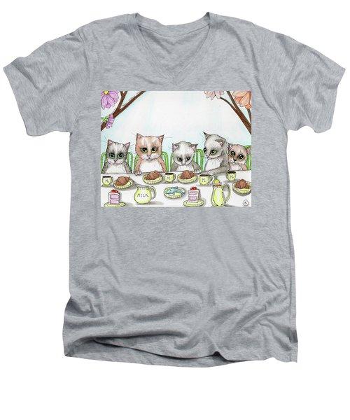 Kitten Tea Party Men's V-Neck T-Shirt