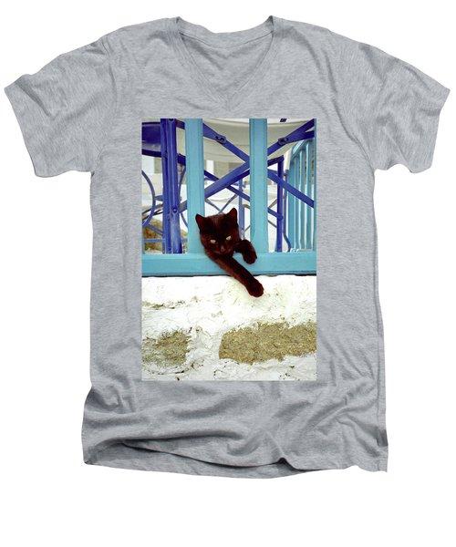 Kitten With Blue Rail Men's V-Neck T-Shirt