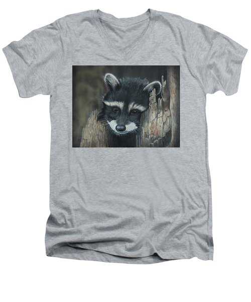 Kit...the Baby Raccoon Men's V-Neck T-Shirt