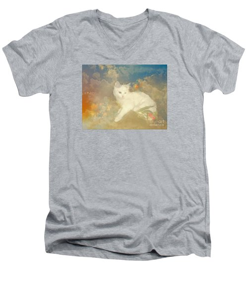 Men's V-Neck T-Shirt featuring the photograph Kitty Art Precious By Sherriofpalmsprings by Sherri  Of Palm Springs