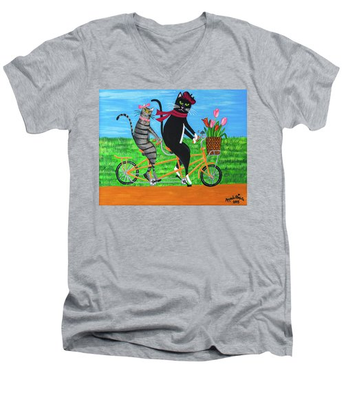 Kitty Cat Outing Men's V-Neck T-Shirt