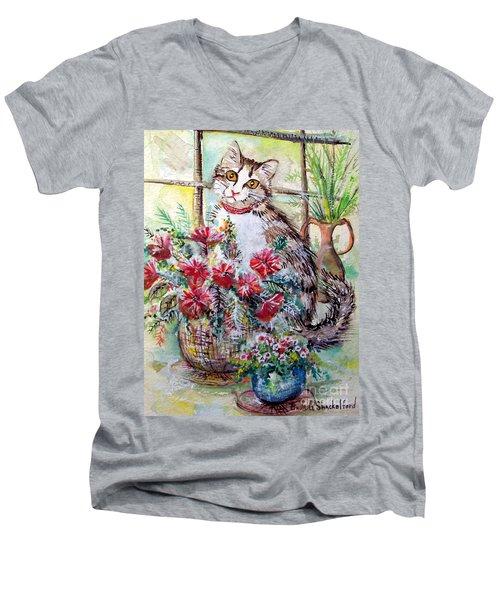 Kitty In The Window Men's V-Neck T-Shirt