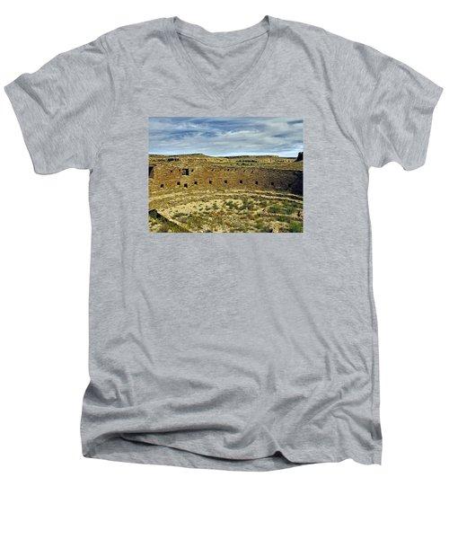 Men's V-Neck T-Shirt featuring the photograph Kiva View Chaco Canyon by Kurt Van Wagner