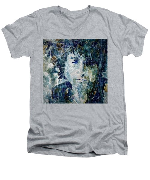 Men's V-Neck T-Shirt featuring the painting Knocking On Heaven's Door by Paul Lovering