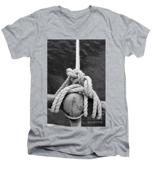 Men's V-Neck T-Shirt featuring the photograph Knot On My Warf Iv by Stephen Mitchell
