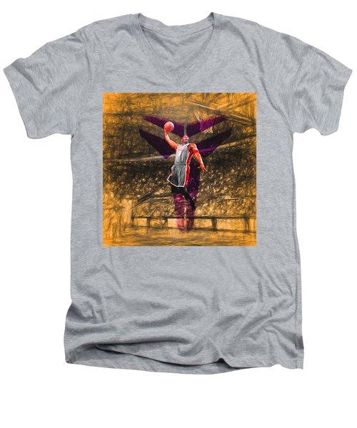 Kobe Bryant Black Mamba Digital Painting Men's V-Neck T-Shirt by David Haskett