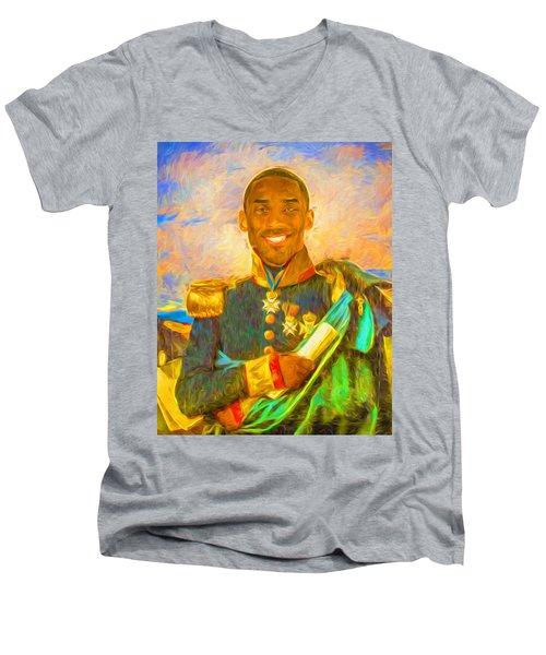 Kobe Bryant Floor General Digital Painting La Lakers Men's V-Neck T-Shirt by David Haskett