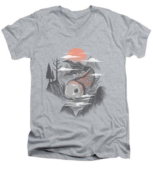 koi Men's V-Neck T-Shirt by Anggrahito Pramono