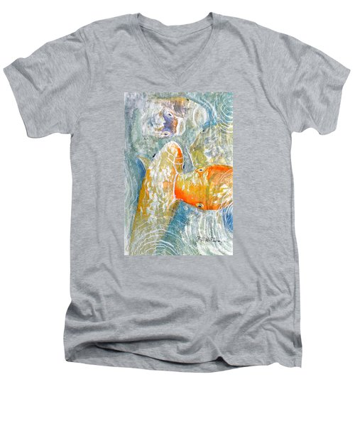 Men's V-Neck T-Shirt featuring the painting Koi Carp Feeding Frenzy by Bill Holkham