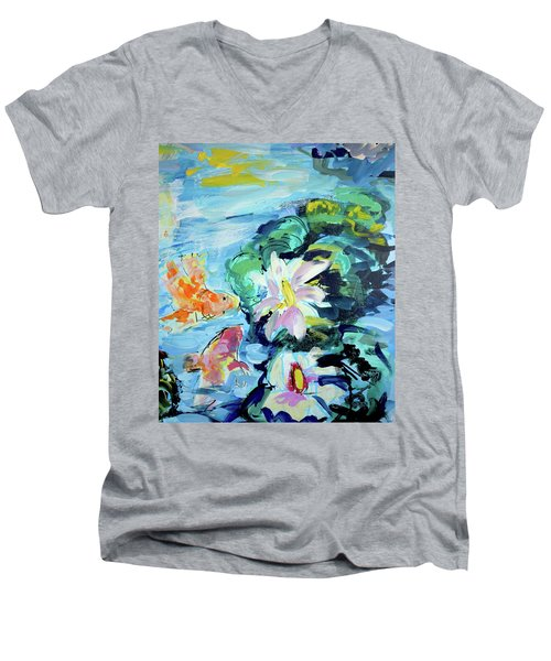 Koi Fish And Water Lilies Men's V-Neck T-Shirt