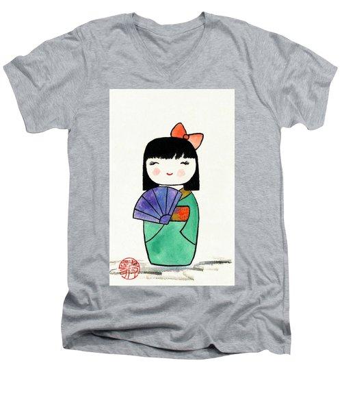 Kokeshi Doll Men's V-Neck T-Shirt