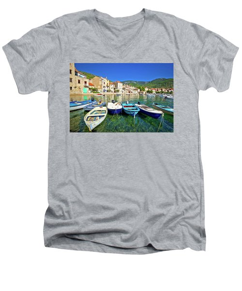 Komiza On Vis Island Turquoise Waterfront Men's V-Neck T-Shirt by Brch Photography