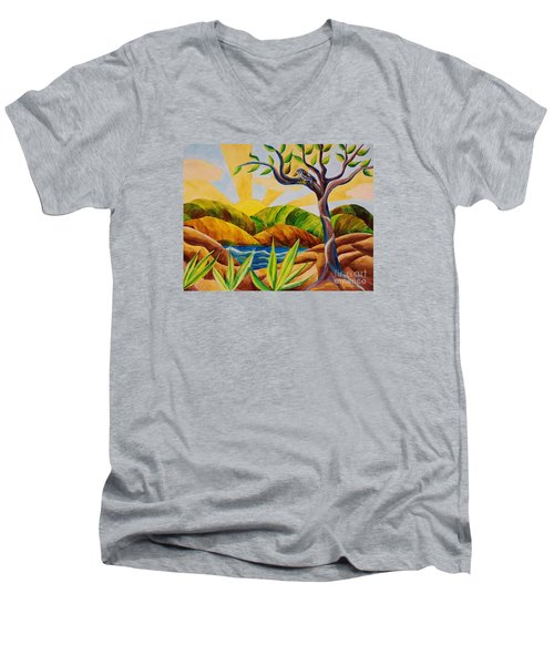 Kookaburra Landscape Men's V-Neck T-Shirt by Judy Via-Wolff