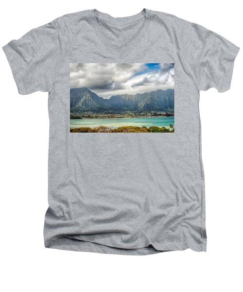 Ko'olau And H-3 In Color Men's V-Neck T-Shirt