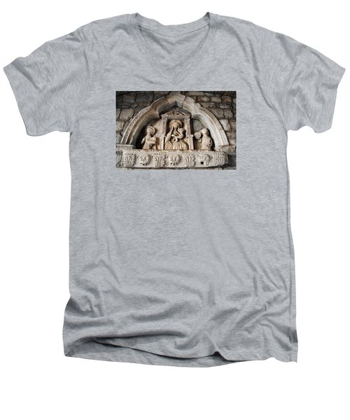 Men's V-Neck T-Shirt featuring the photograph Kotor Wall Engraving by Robert Moss