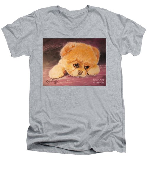 Men's V-Neck T-Shirt featuring the painting Koty The Puppy by Sigrid Tune