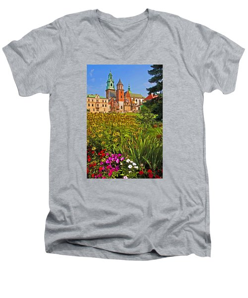 Krakow Castle Men's V-Neck T-Shirt by Dennis Cox WorldViews