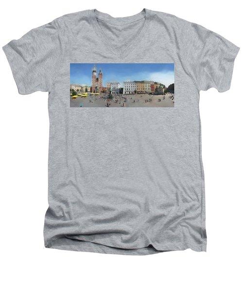 Krakow, Town Square Men's V-Neck T-Shirt