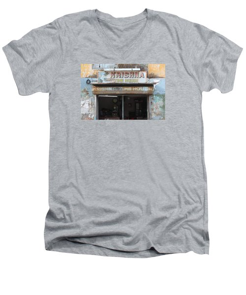 Krishna Time House Men's V-Neck T-Shirt by Jennifer Mazzucco