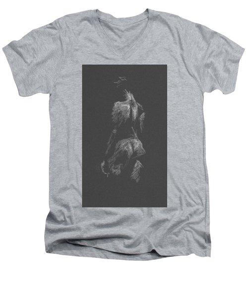 Kroki 2015 09 26 _3 Figure Drawing White Chalk Men's V-Neck T-Shirt