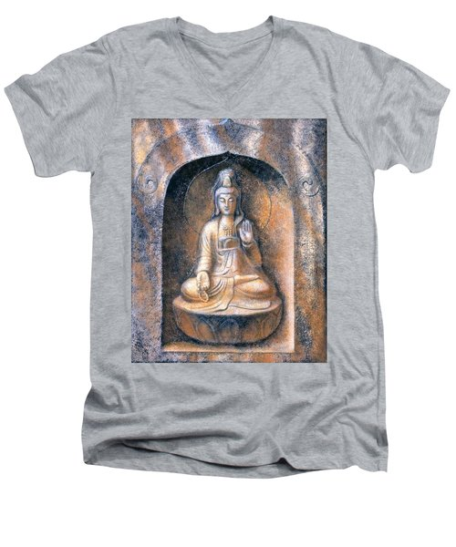 Kuan Yin Meditating Men's V-Neck T-Shirt