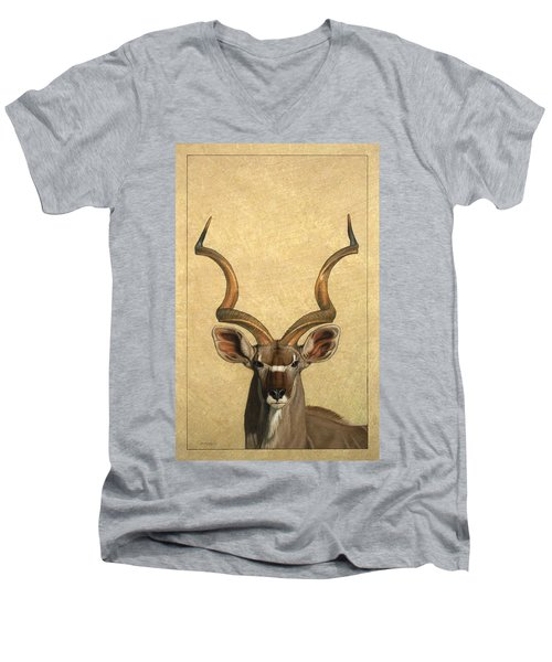 Kudu Men's V-Neck T-Shirt by James W Johnson