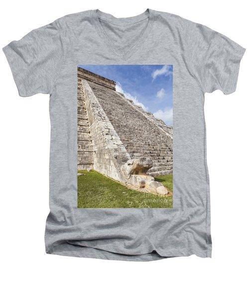 Kukulkan Pyramid At Chichen Itza Men's V-Neck T-Shirt
