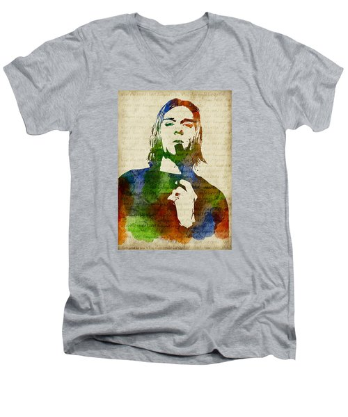 Kurt Cobain Watercolor Men's V-Neck T-Shirt by Mihaela Pater