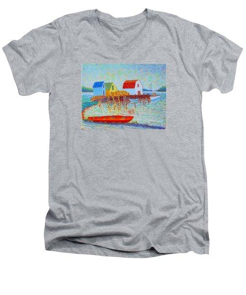 Kyak At Blue Rocks Men's V-Neck T-Shirt by Rae  Smith