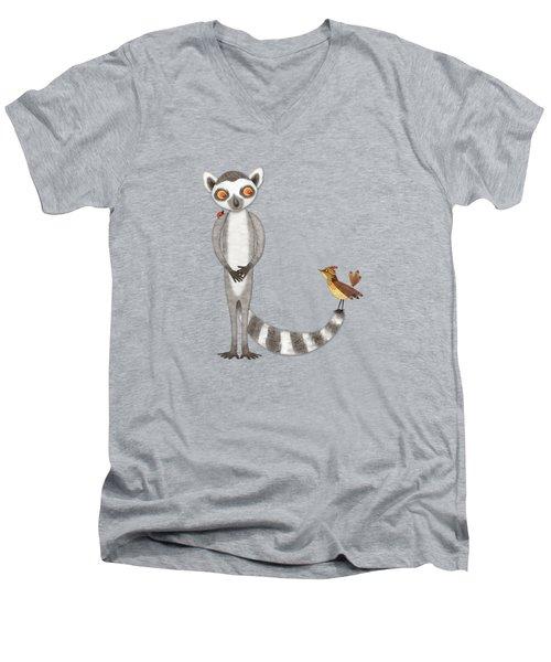 L Is For Lemur And Lark Men's V-Neck T-Shirt