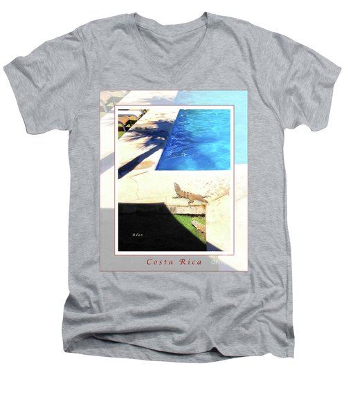 la Casita Playa Hermosa Puntarenas Costa Rica - Iguanas Poolside Greeting Card Poster Men's V-Neck T-Shirt by Felipe Adan Lerma