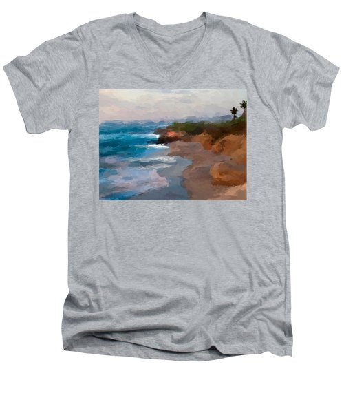 La Jolla California  Men's V-Neck T-Shirt by Anthony Fishburne