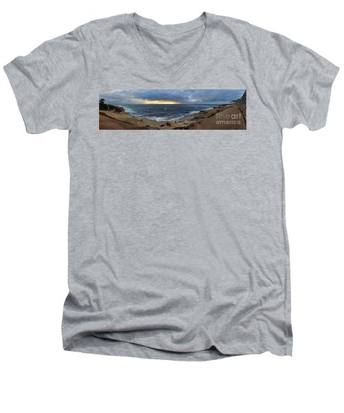 La Jolla Shores Beach Panorama Men's V-Neck T-Shirt