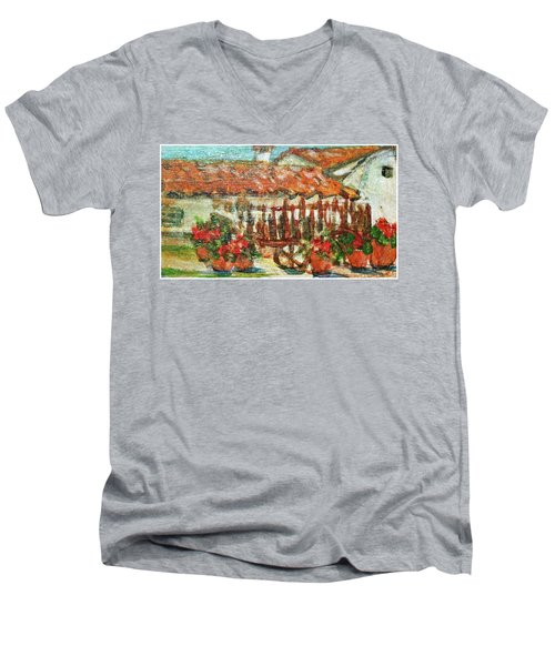 Men's V-Neck T-Shirt featuring the painting La Mancha by Mindy Newman
