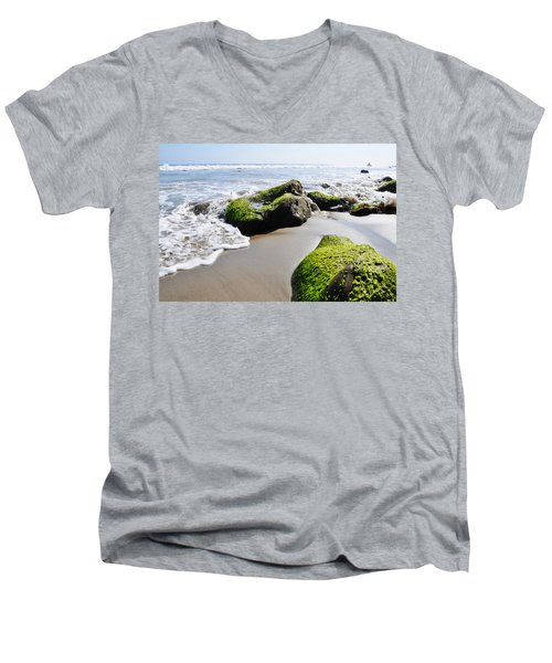 La Piedra Shore Malibu Men's V-Neck T-Shirt by Kyle Hanson