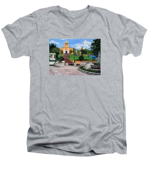 La Plaza De Moca Men's V-Neck T-Shirt by Luis F Rodriguez