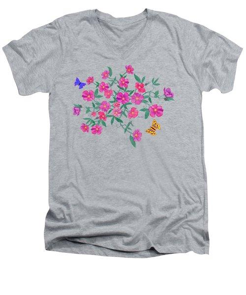 La Vie En Rose Design Men's V-Neck T-Shirt